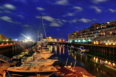 Boston Long Wharf At Night Poster by Joann Vitali