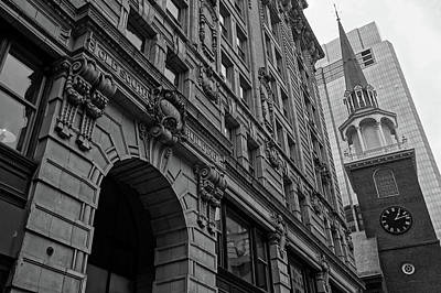 Boston Ma Old South Building Black And White Poster