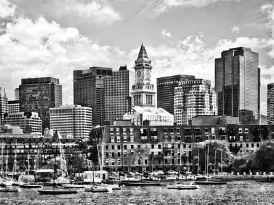 Boston Ma - Skyline With Custom House Tower Black And White Poster by Susan Savad