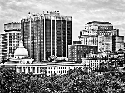 Boston Ma - Skyline With Massachusetts State House Black And White Poster by Susan Savad
