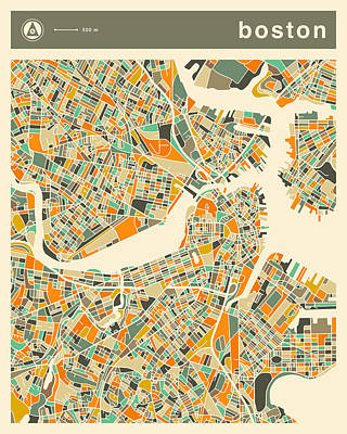 Boston Map 2 Poster by Jazzberry Blue