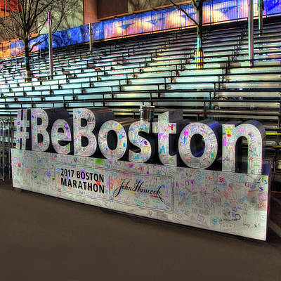 Poster featuring the photograph Boston Marathon Sign by Joann Vitali