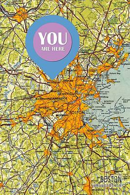 Boston Massachusetts 1948 Old Map You Are Here Poster