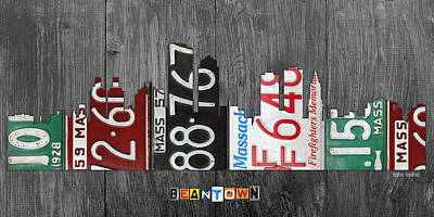 Boston Massachusetts Beantown Vintage License Plate Art City Skyline Poster
