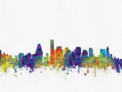 Boston Massachusetts Skyline Color03 Poster by Aged Pixel