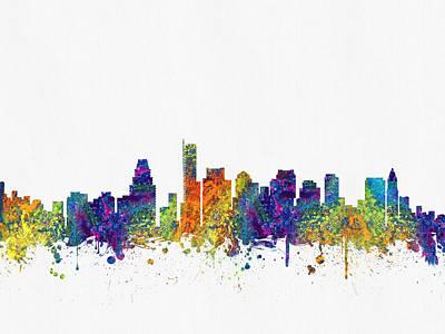 Boston Massachusetts Skyline Color03 Poster