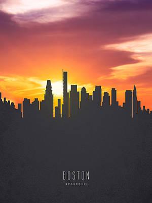 Boston Massachusetts Sunset Skyline 01 Poster by Aged Pixel