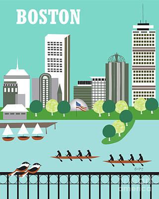 Boston Massachusetts Vertical Skyline Poster