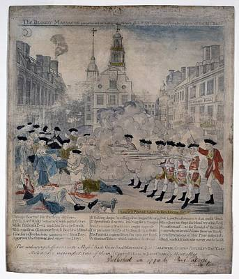Boston Massacre.  British Troops Shoot Poster by Everett