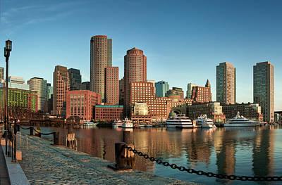 Boston Morning Skyline Poster by Sebastian Schlueter (sibbiblue)