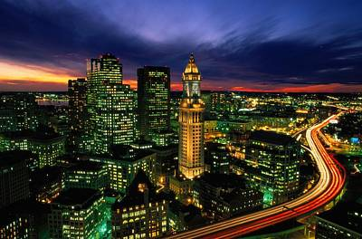 Boston Night Aerial With Time Exposure Poster