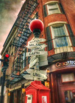 Boston North End Italian Cities Sign Poster by Joann Vitali