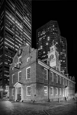 Boston Old State House At Night - Monochrome Poster