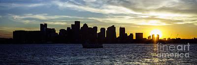 Boston Panoramic Skyline Sunset Picture Poster