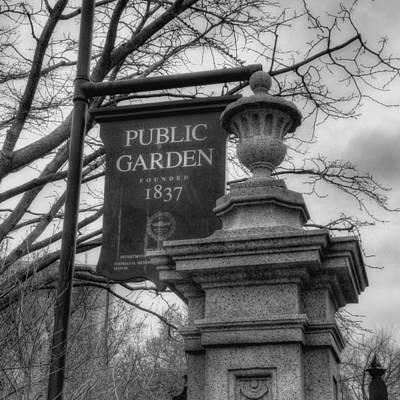 Boston Public Garden - Black And White Square Poster by Joann Vitali