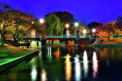 Boston Public Garden In Autumn At Night Poster by Joann Vitali