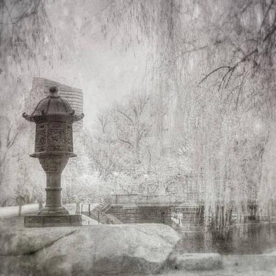 Boston Public Garden Japanese Lantern - Black And White Poster by Joann Vitali