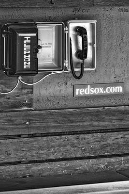 Boston Red Sox Dugout Telephone Bw Poster by Susan Candelario