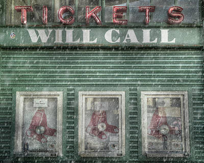 Boston Red Sox Fenway Park Ticket Booth In Winter Poster by Joann Vitali