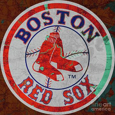 Boston Red Sox Logo On Old Boston Map Poster