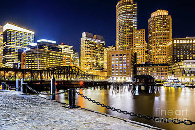 Boston Skyline And Boston Harbor At Night Photo Poster