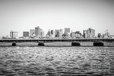 Boston Skyline And Harvard Bridge Black And White Photo Poster