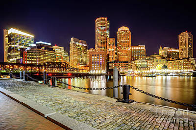 Boston Skyline At Night And Harborwalk Picture Poster