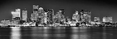 Boston Skyline At Night Panorama Black And White Poster