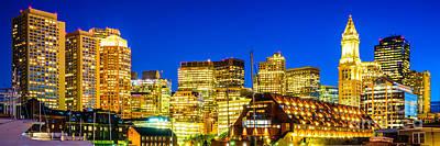 Boston Skyline At Night Panorama Poster