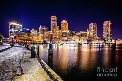 Boston Skyline At Night Picture Poster