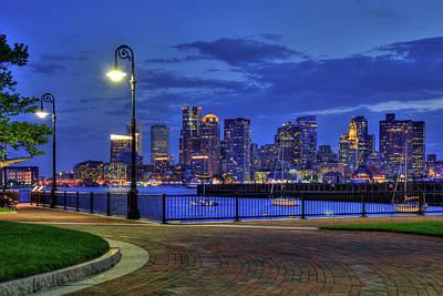 Boston Skyline At Night - Piers Park Poster