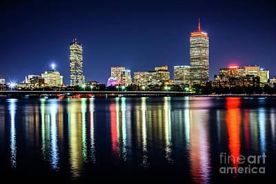 Boston Skyline At Night With Harvard Bridge Poster