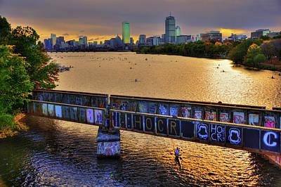 Boston Skyline At Sunrise Over The Charles River Poster by Joann Vitali