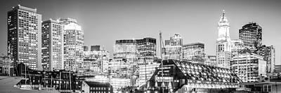 Boston Skyline Black And White Panorama Poster