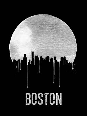 Boston Skyline Black Poster by Naxart Studio