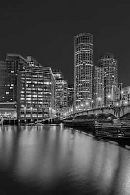 Boston Skyline Blue Hour Bw Poster