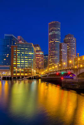 Boston Skyline Blue Hour Poster by Susan Candelario