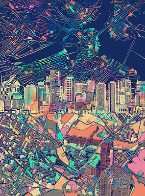 Boston Skyline Blue Poster