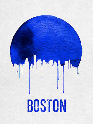 Boston Skyline Blue Poster by Naxart Studio