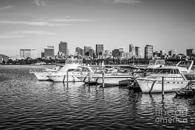 Boston Skyline Boats Black And White Photo Poster