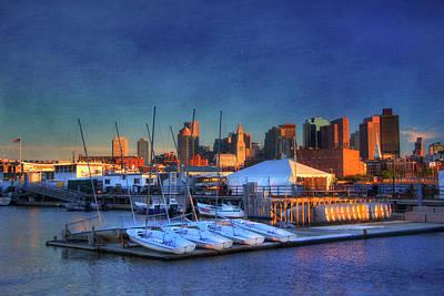 Boston Skyline From Charlestown Navy Yard Poster