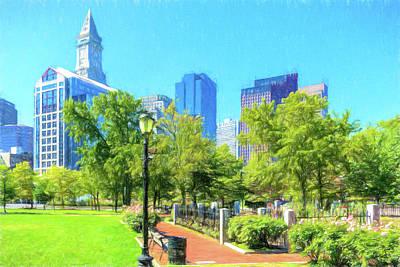 Boston Skyline From Columbus Park Poster