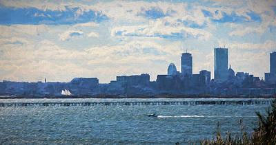 Boston Skyline From Deer Island Poster