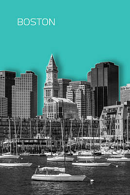 Boston Skyline - Graphic Art - Cyan Poster