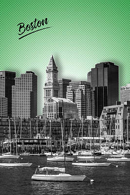 Boston Skyline - Graphic Art - Green Poster