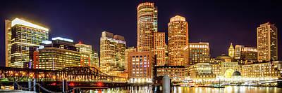Boston Skyline Harbor At Night Panoramic Picture Poster