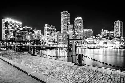 Boston Skyline Harbor Black And White Photo Poster