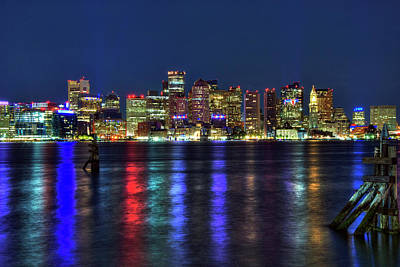 Boston Skyline Harborside At Night  Poster