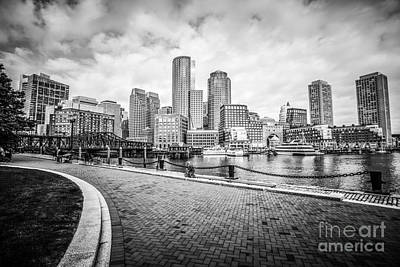 Boston Skyline Harborwalk Black And White Picture Poster