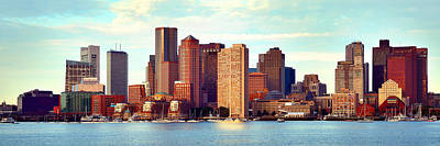 Boston Skyline In Early Morning Panorama Harbor  Poster by Jon Holiday